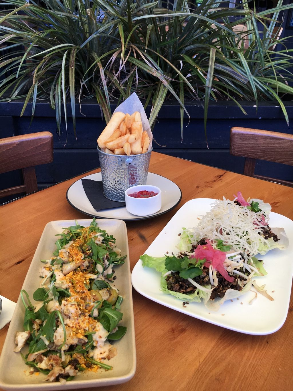"""Photo of Atticus Finch  by <a href=""""/members/profile/sousuneautrelentille"""">sousuneautrelentille</a> <br/>Fries (top), cauliflower/lentil salad (left), and mushroom/tofu lettuce wraps (right) <br/> March 9, 2018  - <a href='/contact/abuse/image/103721/368429'>Report</a>"""