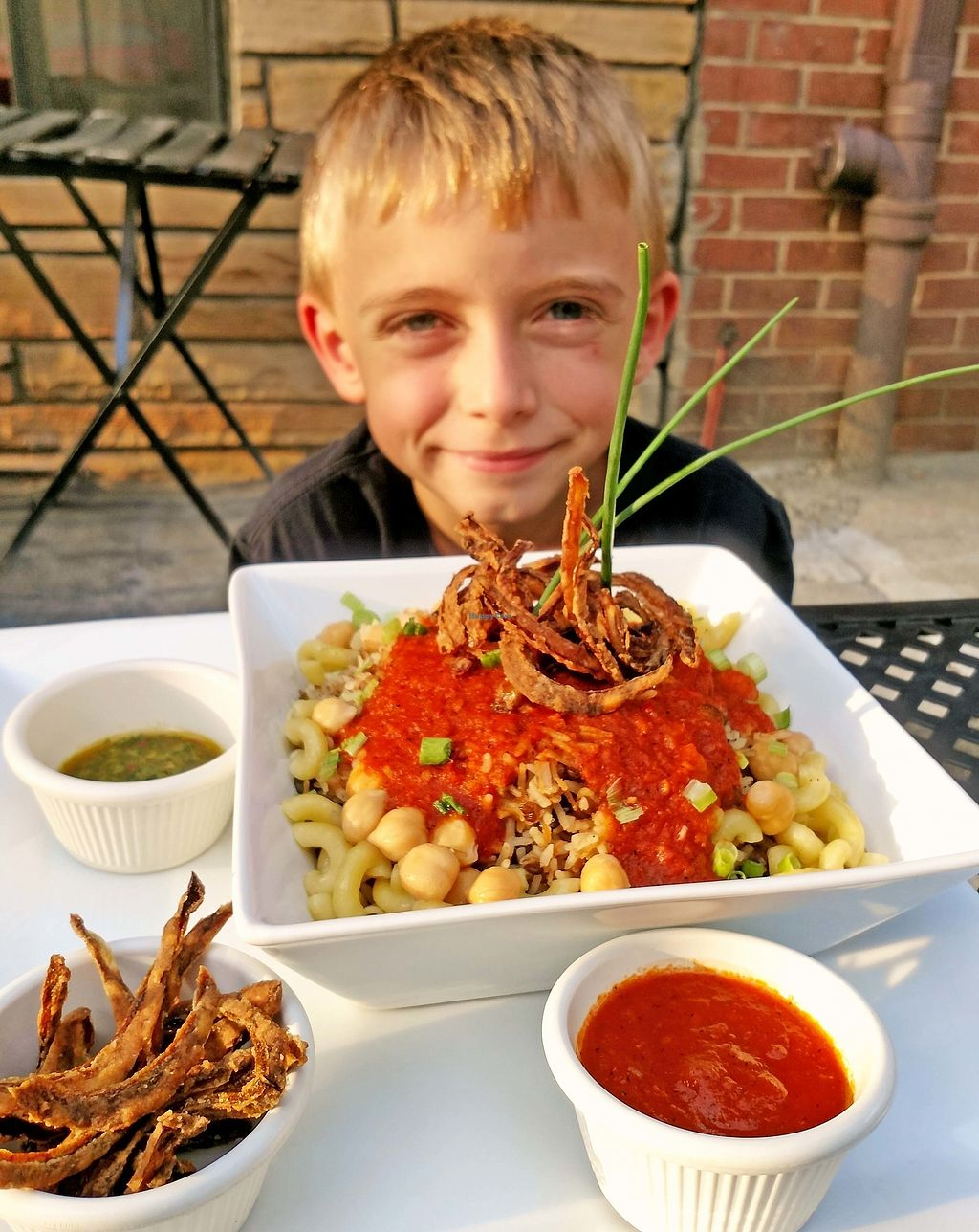 "Photo of Aya's Cafe  by <a href=""/members/profile/American%20Vegan"">American Vegan</a> <br/>Clint loves Aya's koshari! <br/> October 26, 2017  - <a href='/contact/abuse/image/103745/319081'>Report</a>"