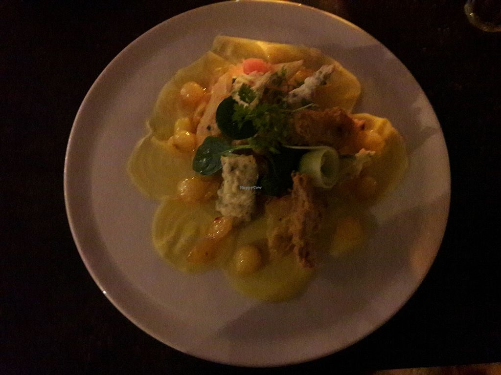 """Photo of Stadscafe De Dighter  by <a href=""""/members/profile/aniareyouok"""">aniareyouok</a> <br/>Vegan dish with smoked seasonal veggies in tempura, marinated union and vegan risotto with oyster mushrooms. Served with fries <br/> October 29, 2017  - <a href='/contact/abuse/image/103754/319901'>Report</a>"""