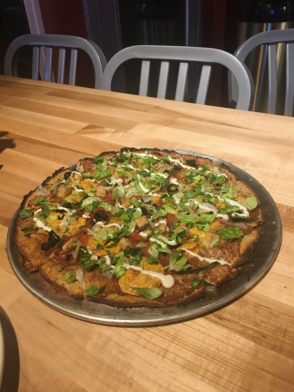 """Photo of The Pizza Patio  by <a href=""""/members/profile/billierod"""">billierod</a> <br/>Vegan Taco Loco Cauliflower Crust  <br/> December 8, 2017  - <a href='/contact/abuse/image/103761/333305'>Report</a>"""