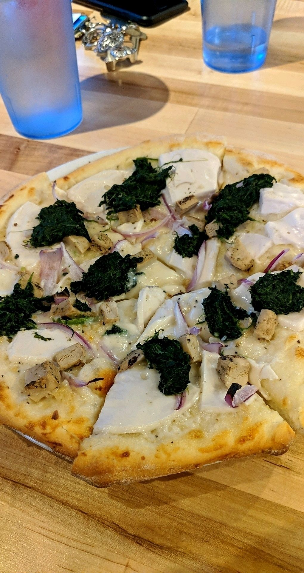 """Photo of The Pizza Patio  by <a href=""""/members/profile/clovergirlkaz"""">clovergirlkaz</a> <br/>Vegan Chicken Alfredo Pizza <br/> March 26, 2018  - <a href='/contact/abuse/image/103761/376190'>Report</a>"""