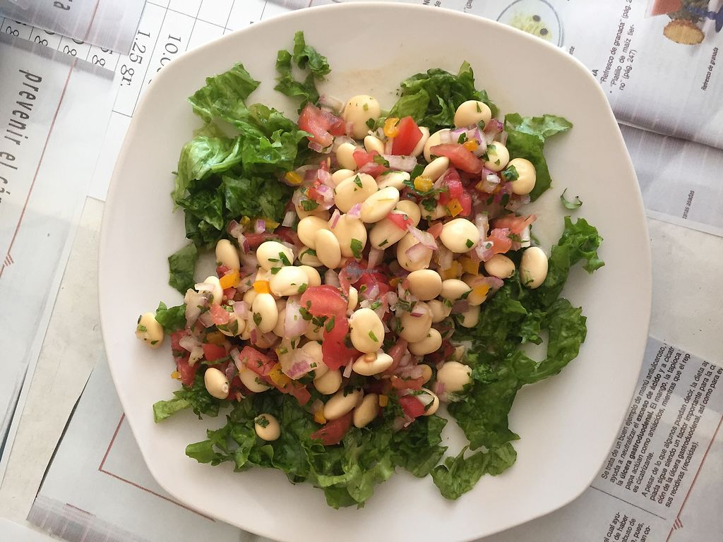 """Photo of El Eden Restaurant Vegano  by <a href=""""/members/profile/joegelay"""">joegelay</a> <br/>White bean (chocho) salad <br/> January 27, 2018  - <a href='/contact/abuse/image/103820/351470'>Report</a>"""