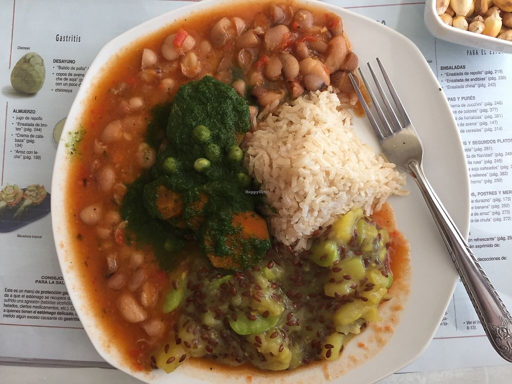 """Photo of El Eden Restaurant Vegano  by <a href=""""/members/profile/joegelay"""">joegelay</a> <br/>Brown rice, beans, Arequipa style green sauce, potato guiso with flax. (Arroz integral, guiso de papa y linaza, vegetales al estilo Arequipeña, frijoles) <br/> January 27, 2018  - <a href='/contact/abuse/image/103820/351472'>Report</a>"""