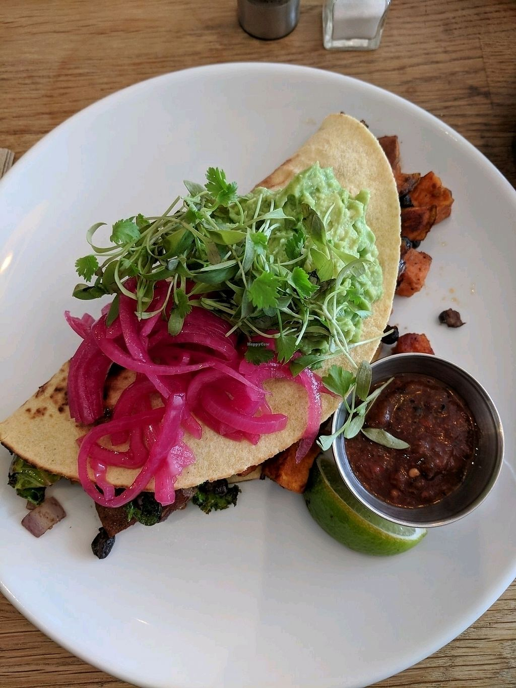 """Photo of The Pantry  by <a href=""""/members/profile/Danmiddleton"""">Danmiddleton</a> <br/>Vegan quesadilla  <br/> April 15, 2018  - <a href='/contact/abuse/image/103851/386493'>Report</a>"""