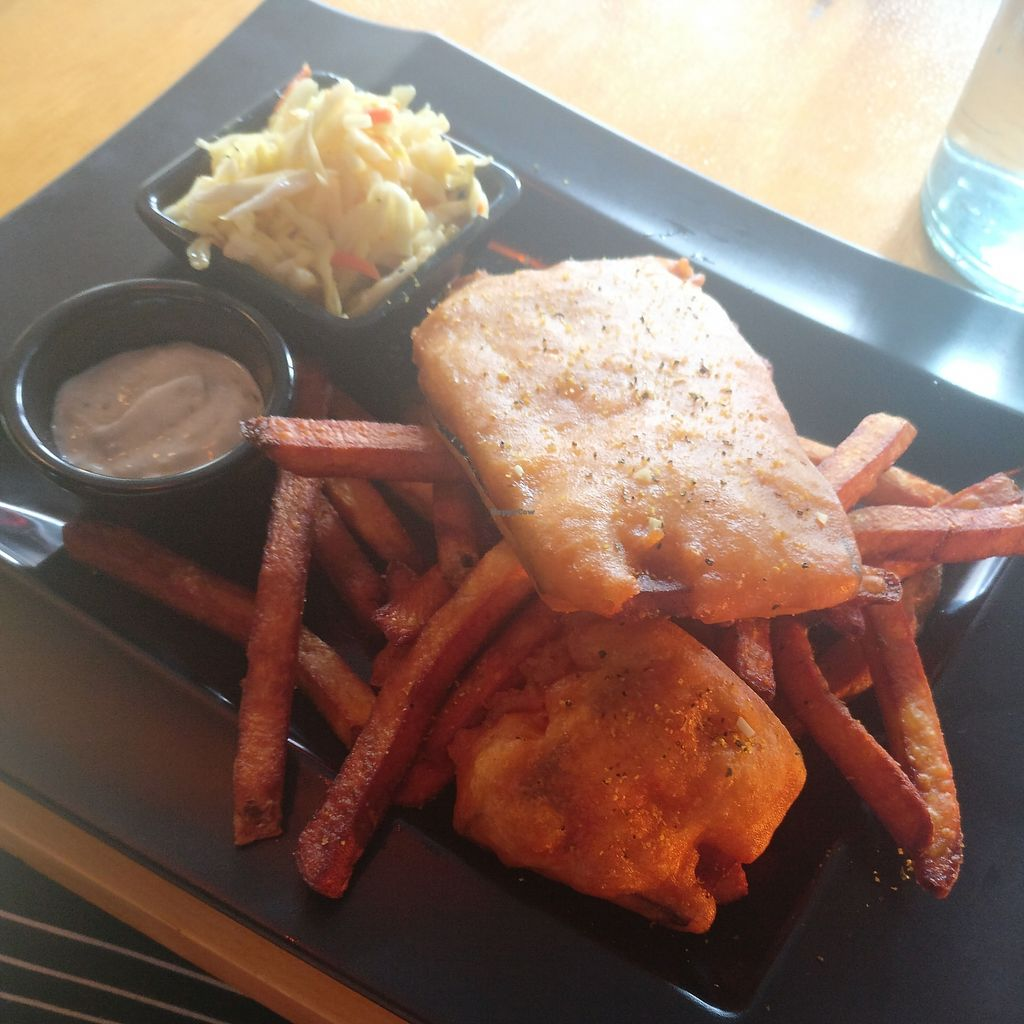 """Photo of Off the Hook  by <a href=""""/members/profile/rogueavocado"""">rogueavocado</a> <br/>Eggplant fish and chips with cole slaw and tartar sauce (all vegan) <br/> February 7, 2018  - <a href='/contact/abuse/image/103892/355915'>Report</a>"""