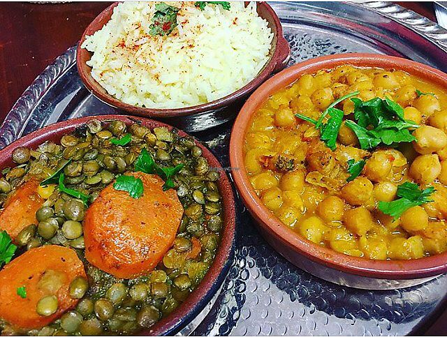 "Photo of Fatima's Kitchen  by <a href=""/members/profile/Veganhippychic"">Veganhippychic</a> <br/>Lentil tagine and chickpea tagine <br/> November 5, 2017  - <a href='/contact/abuse/image/103926/322307'>Report</a>"