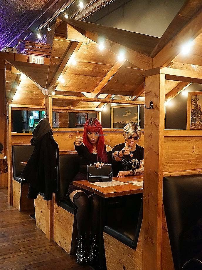 """Photo of The Black Lodge - Broadway  by <a href=""""/members/profile/lacarmina"""">lacarmina</a> <br/>La Carmina inside the Twin Peaks cabin booths at vegetarian restaurant Black Lodge Broadway.  <br/> January 24, 2018  - <a href='/contact/abuse/image/103935/350281'>Report</a>"""