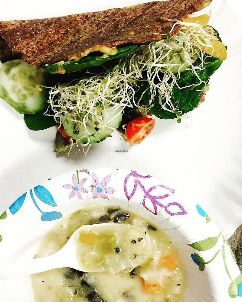 """Photo of Wheatgrass Juice Bar  by <a href=""""/members/profile/Wheatgrassjuicebar"""">Wheatgrassjuicebar</a> <br/>Veggie hummus wrap with home grown sprouts, served with our vegan potato soup! <br/> November 1, 2017  - <a href='/contact/abuse/image/103989/320773'>Report</a>"""