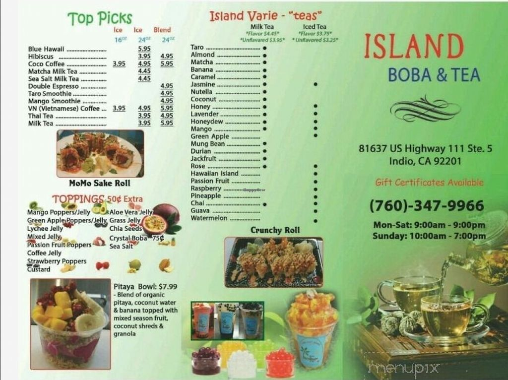 "Photo of Island Boba & Tea  by <a href=""/members/profile/thislilvegan"">thislilvegan</a> <br/>A view of their menu pt.2 <br/> October 30, 2017  - <a href='/contact/abuse/image/103990/320262'>Report</a>"