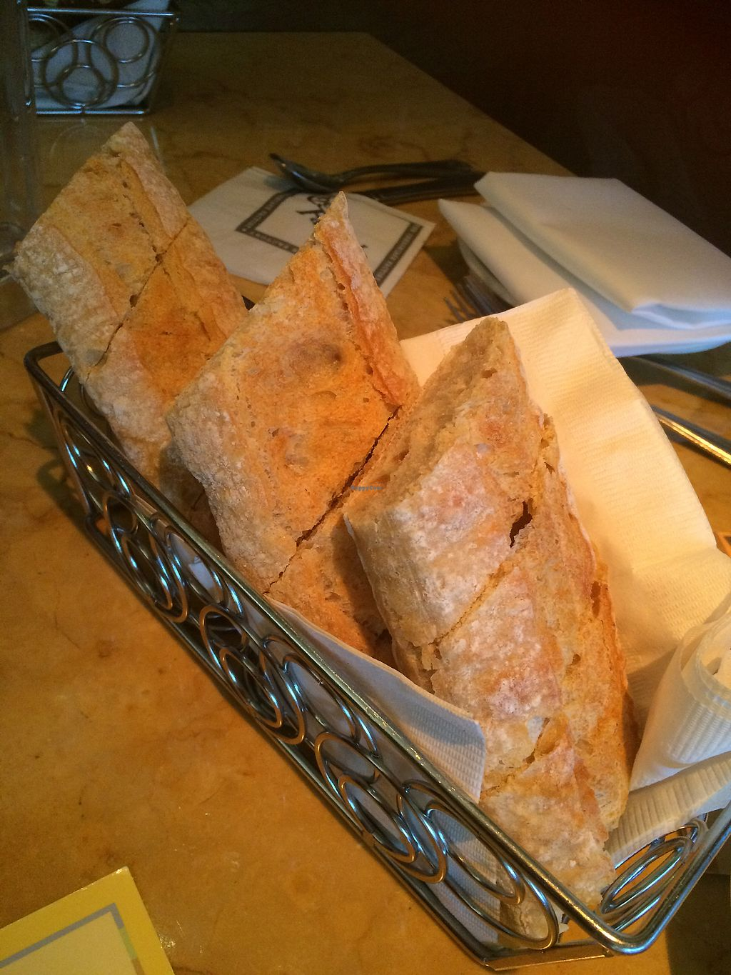 """Photo of The Cheesecake Factory  by <a href=""""/members/profile/fruitiJulie"""">fruitiJulie</a> <br/>French bread baguette  vegan <br/> November 21, 2017  - <a href='/contact/abuse/image/103994/327899'>Report</a>"""