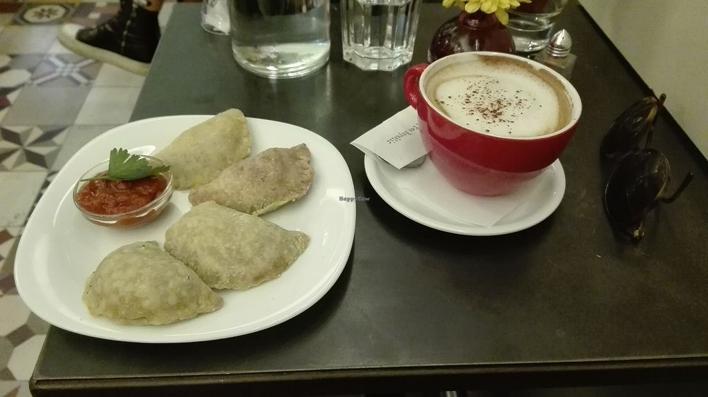 "Photo of Cafe Bar 67  by <a href=""/members/profile/TytoAlba"">TytoAlba</a> <br/>vegan piroski and vegan cappuccino <br/> February 14, 2018  - <a href='/contact/abuse/image/103996/359029'>Report</a>"