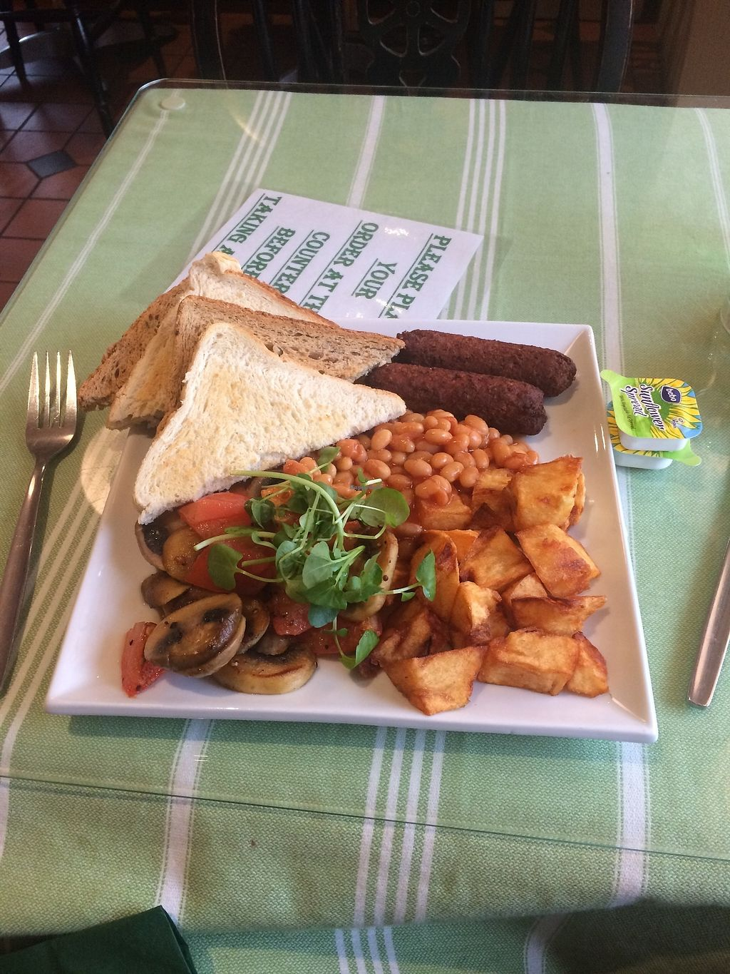 "Photo of The Eating House  by <a href=""/members/profile/washcat"">washcat</a> <br/>Vegan English Breakfast <br/> November 12, 2017  - <a href='/contact/abuse/image/104080/324834'>Report</a>"