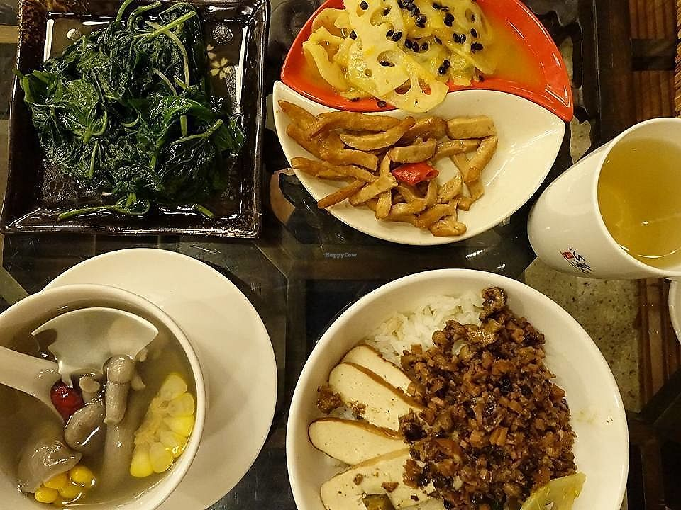 """Photo of Veggie Mind Cafe  by <a href=""""/members/profile/JimmySeah"""">JimmySeah</a> <br/>set meal at 30 Yuan, approx US$4.50.  <br/> November 2, 2017  - <a href='/contact/abuse/image/104095/321151'>Report</a>"""