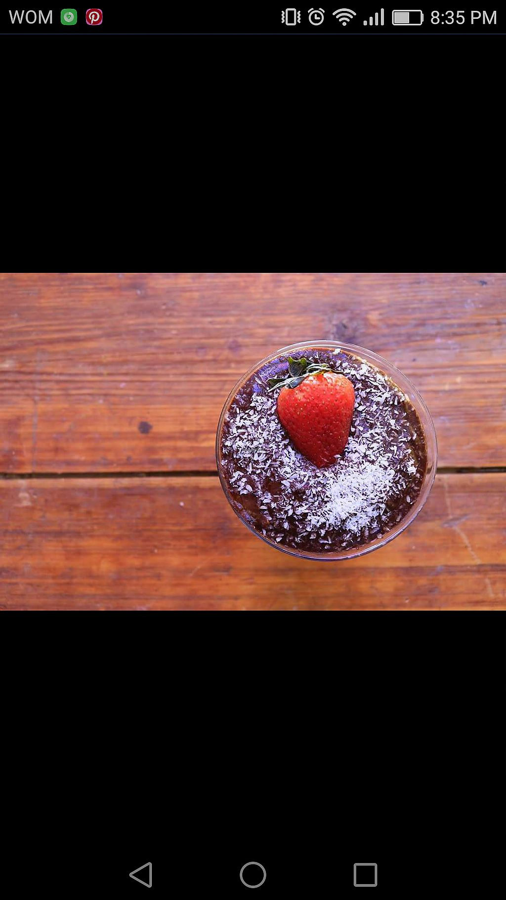 """Photo of Napas  by <a href=""""/members/profile/Margo01"""">Margo01</a> <br/>Vegan chocolate pudding with coconut shavings and strawberry <br/> November 3, 2017  - <a href='/contact/abuse/image/104241/321557'>Report</a>"""