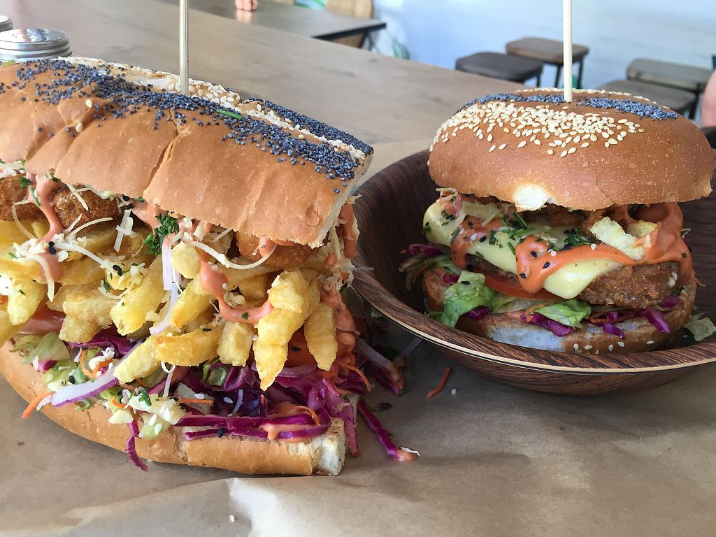 """Photo of Lekker Vegan  by <a href=""""/members/profile/ryanwhatt"""">ryanwhatt</a> <br/>Giant nugget sandwich and a lekker crispy! <br/> February 6, 2018  - <a href='/contact/abuse/image/104251/355585'>Report</a>"""