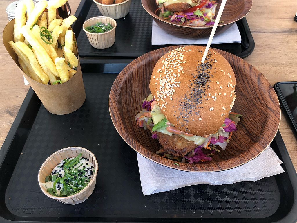 """Photo of Lekker Vegan  by <a href=""""/members/profile/lmd06"""">lmd06</a> <br/>Original crispy burger, chips and garlic sauce  <br/> March 16, 2018  - <a href='/contact/abuse/image/104251/371392'>Report</a>"""