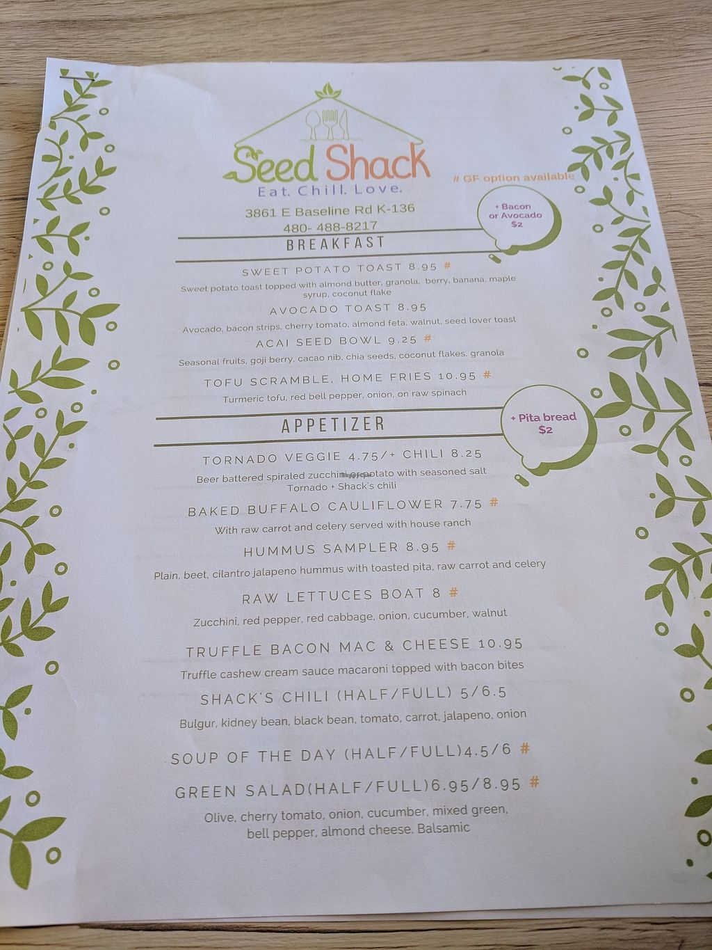 """Photo of Seed Shack  by <a href=""""/members/profile/lizsc24"""">lizsc24</a> <br/>Menu <br/> February 9, 2018  - <a href='/contact/abuse/image/104258/356613'>Report</a>"""