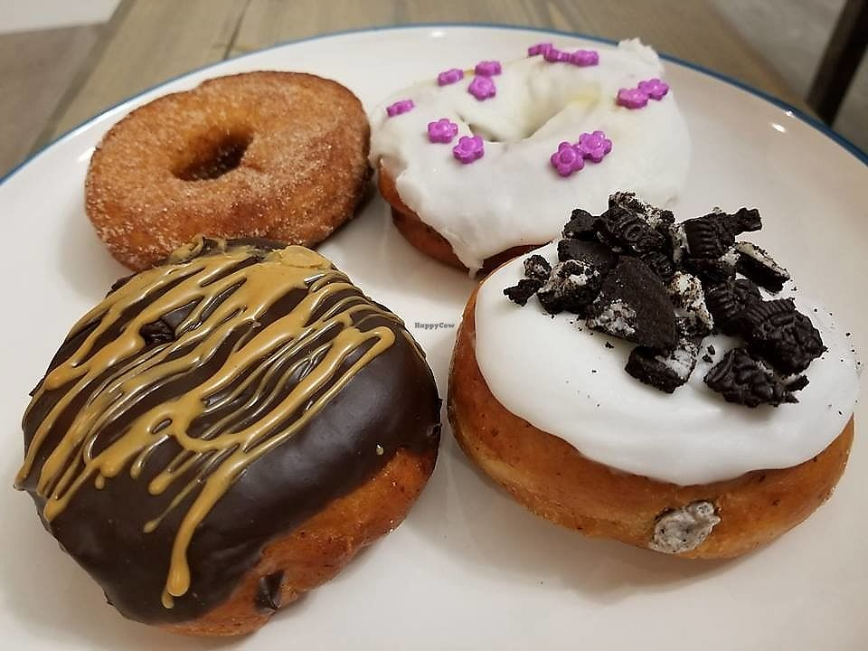 "Photo of VegaBoo Cat Haven  by <a href=""/members/profile/_lawlipops_"">_lawlipops_</a> <br/>Vegan donuts. Peanut butter and chocolate, Oreo stuffed (my favourite), cinnamon <br/> February 5, 2018  - <a href='/contact/abuse/image/104369/355118'>Report</a>"