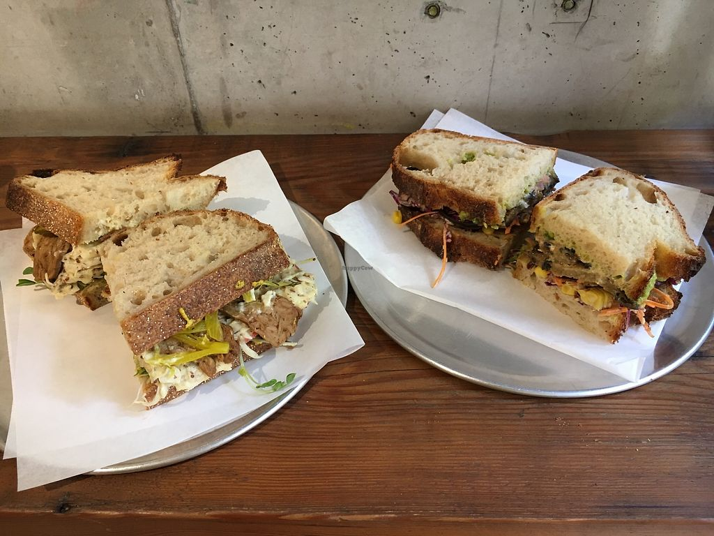 "Photo of Joe's Sandwich Bar  by <a href=""/members/profile/sousuneautrelentille"">sousuneautrelentille</a> <br/>Tempeh Reuben left and miso eggplant right <br/> March 12, 2018  - <a href='/contact/abuse/image/104399/369678'>Report</a>"