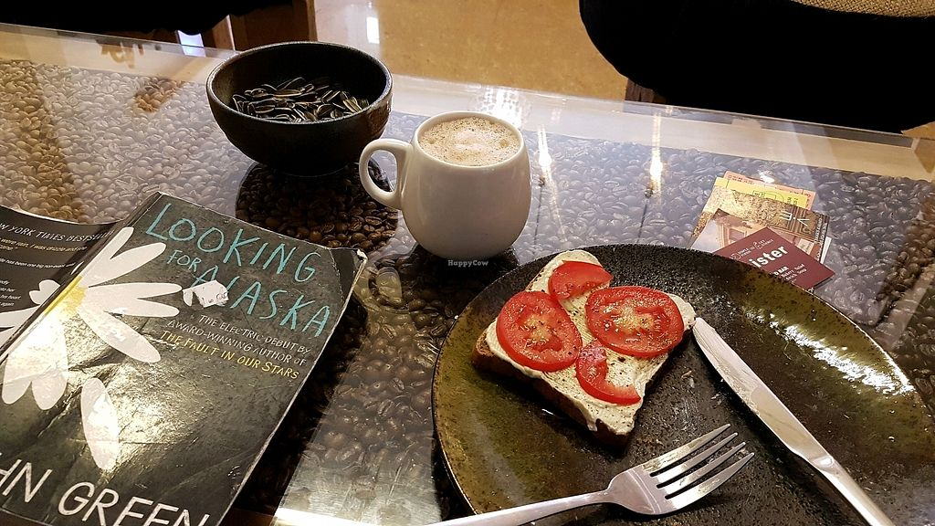 """Photo of Brew and Breakfast  by <a href=""""/members/profile/aggiem"""">aggiem</a> <br/>Tofu cream cheese on toast and hot chocolate <br/> November 19, 2017  - <a href='/contact/abuse/image/104422/327061'>Report</a>"""