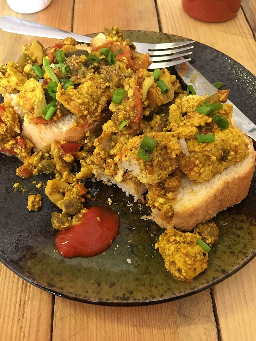 """Photo of Brew and Breakfast  by <a href=""""/members/profile/JuergenKracke"""">JuergenKracke</a> <br/>scrambled tofu on toast  <br/> February 5, 2018  - <a href='/contact/abuse/image/104422/355138'>Report</a>"""