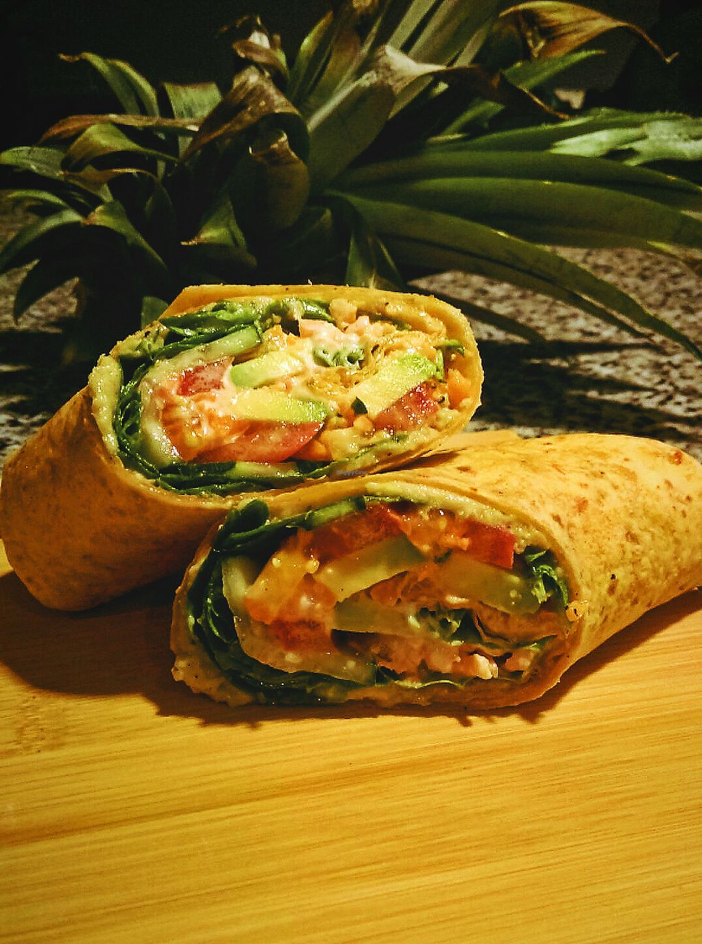 """Photo of EatQual  by <a href=""""/members/profile/Jazz5a"""">Jazz5a</a> <br/>Homemade Pineapple Jalapeno Hummus, avocado, cucumber, carrots and spinach wrap <br/> November 6, 2017  - <a href='/contact/abuse/image/104446/322722'>Report</a>"""
