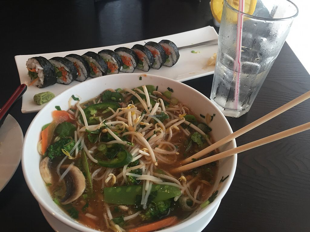 "Photo of Rakuu  by <a href=""/members/profile/Falacos"">Falacos</a> <br/>Mmm veggie sushi and pho! <br/> February 27, 2018  - <a href='/contact/abuse/image/104452/364615'>Report</a>"