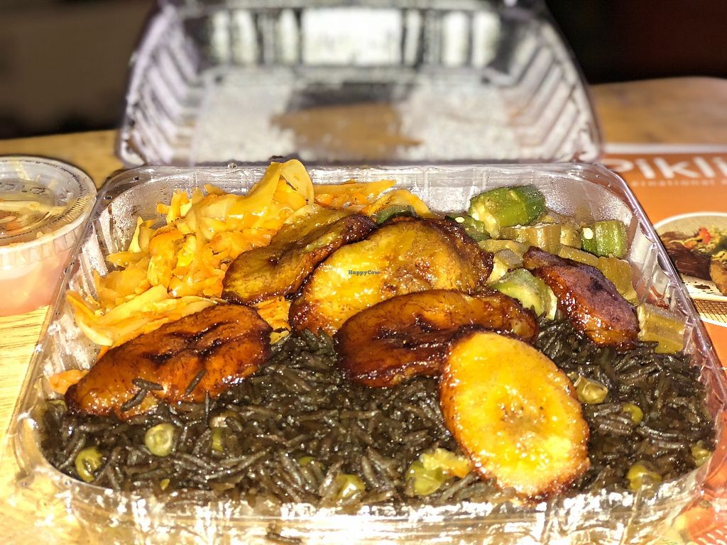 """Photo of Pikliz International Kitchen  by <a href=""""/members/profile/CharleneCharles"""">CharleneCharles</a> <br/>Vegan meal: Black Rice, sweet plantains, okra, and vegetables with a side of pikliz.  <br/> November 7, 2017  - <a href='/contact/abuse/image/104521/323096'>Report</a>"""
