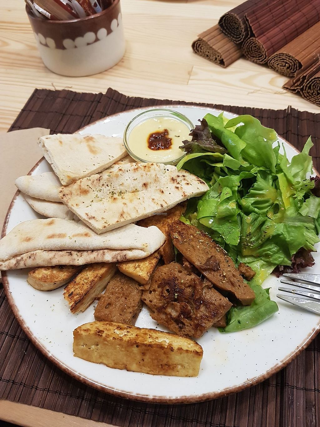 """Photo of Peas  by <a href=""""/members/profile/vegan.goddammit"""">vegan.goddammit</a> <br/>Platter (tofu, seitan, pita and salad) <br/> March 5, 2018  - <a href='/contact/abuse/image/104532/367190'>Report</a>"""