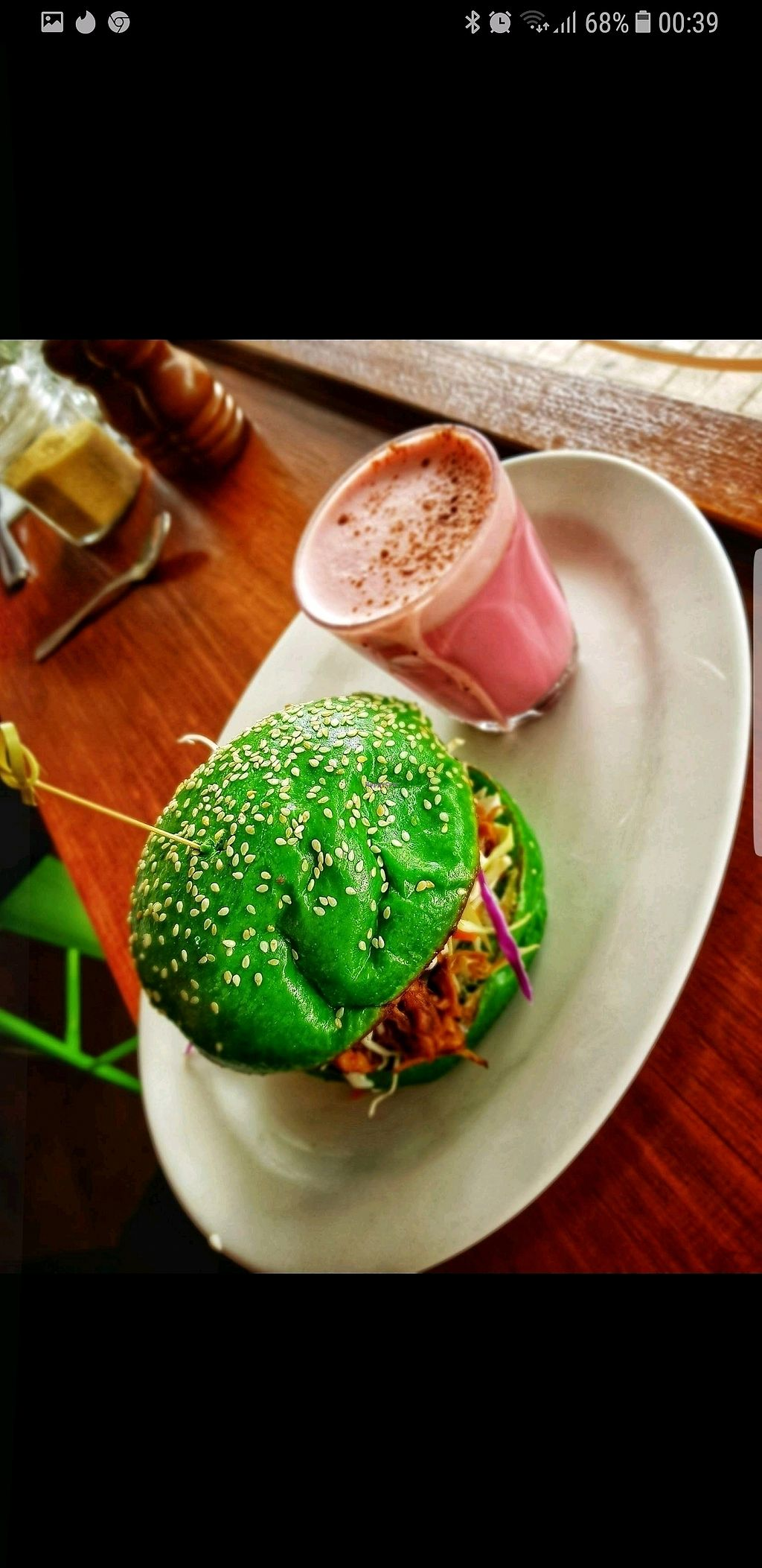"Photo of Nature Cafe/Bar  by <a href=""/members/profile/vicinaus"">vicinaus</a> <br/>Pulled Jack Fruit burger and Beetroot Latte.. both delicious. ☺  <br/> November 26, 2017  - <a href='/contact/abuse/image/104563/329222'>Report</a>"