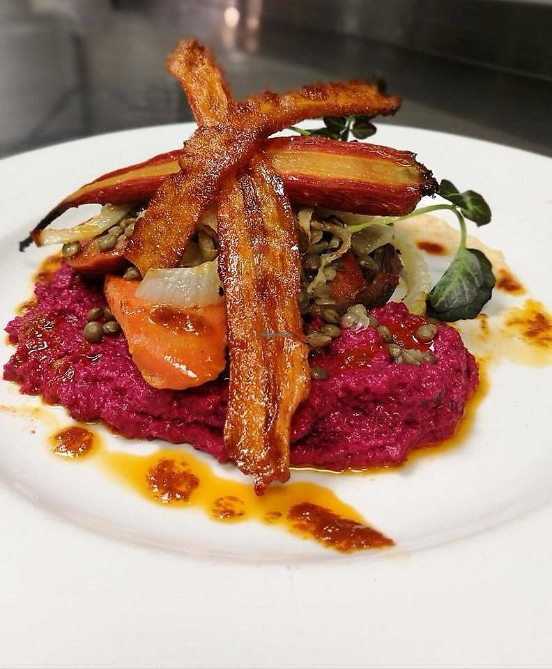 "Photo of The Barn  by <a href=""/members/profile/community5"">community5</a> <br/>Harissa roast orange glazed carrots, fennel, puy lentils, roast balsamic beetroot hummous, smoked maple carrot 'bacon' <br/> November 17, 2017  - <a href='/contact/abuse/image/104612/326458'>Report</a>"