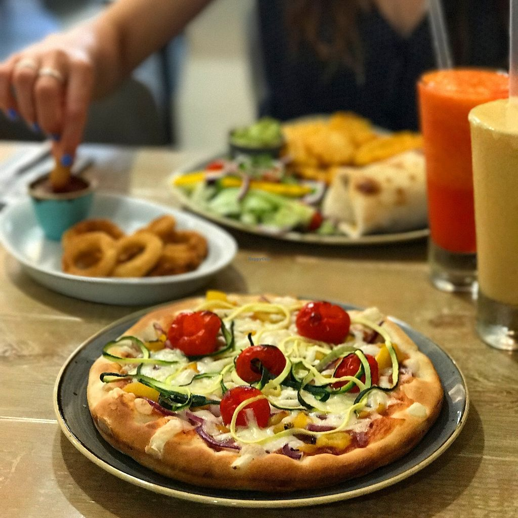 "Photo of The Pizza Cafe  by <a href=""/members/profile/MichaelThuell"">MichaelThuell</a> <br/>A vegan feast! ""Hunger Games - Catching Fire"" with vegan cheese!  <br/> January 23, 2018  - <a href='/contact/abuse/image/104664/350209'>Report</a>"