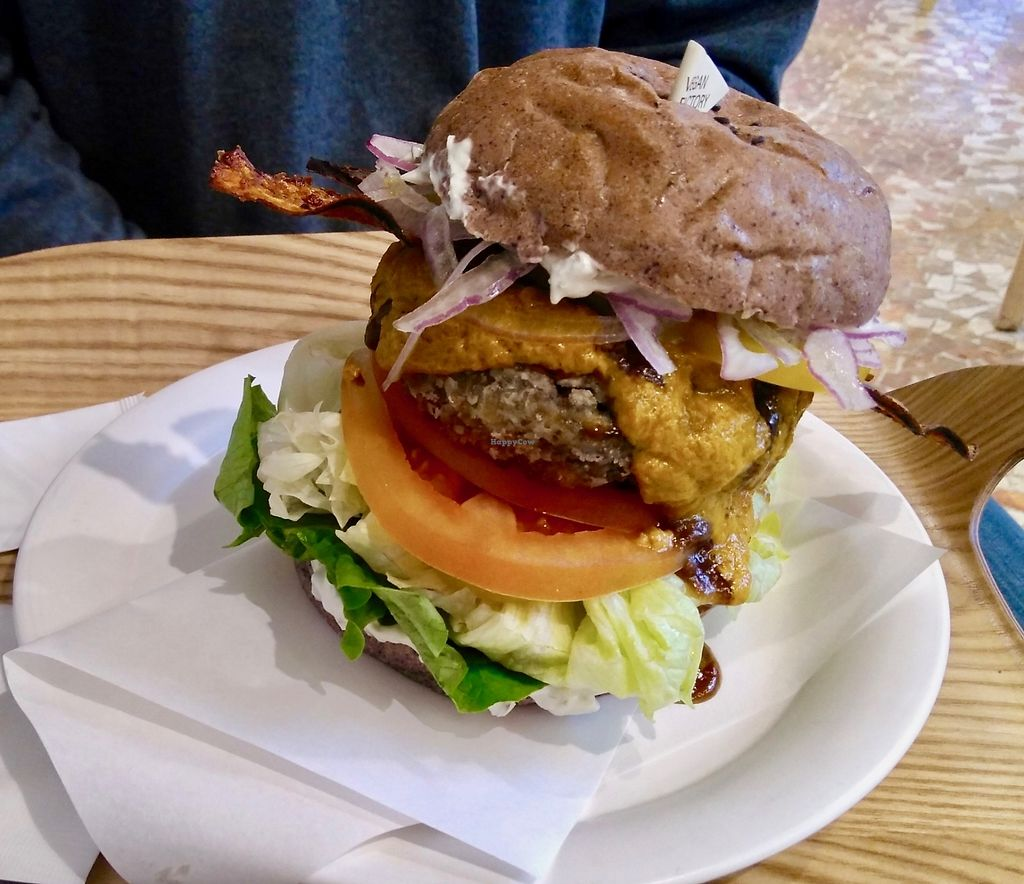 """Photo of yummyyomil  by <a href=""""/members/profile/egietz"""">egietz</a> <br/>Cheeseburger w/ eggplant """"bacon"""" and a black bean patty (special) <br/> December 24, 2017  - <a href='/contact/abuse/image/104729/338601'>Report</a>"""