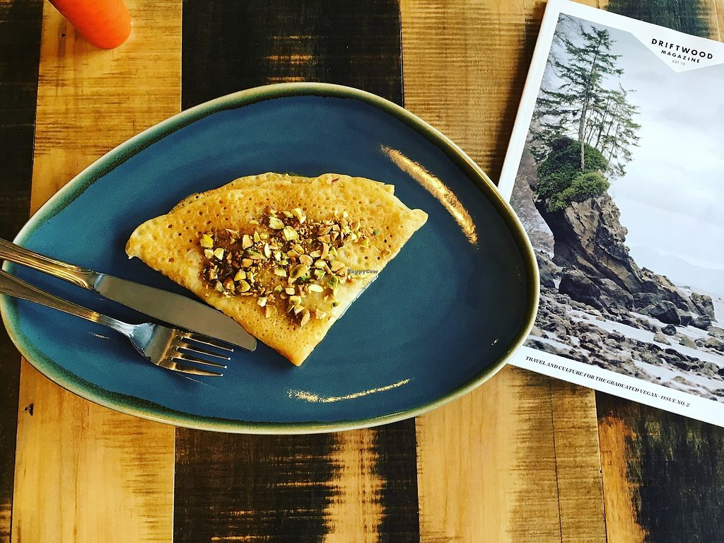 """Photo of Kind Crepes  by <a href=""""/members/profile/Kind_Crepes"""">Kind_Crepes</a> <br/>Baklava Crepe with agave and pistachios! <br/> March 14, 2018  - <a href='/contact/abuse/image/104735/370534'>Report</a>"""