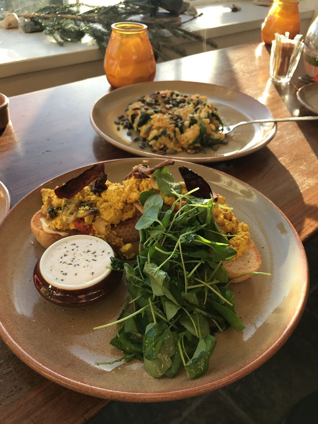 "Photo of St Mary in the Castle Cafe  by <a href=""/members/profile/Bell"">Bell</a> <br/>Smoked tofu scramble on sourdough and pumpkin risotto. All vegan! And delicious!  <br/> November 26, 2017  - <a href='/contact/abuse/image/104766/329371'>Report</a>"
