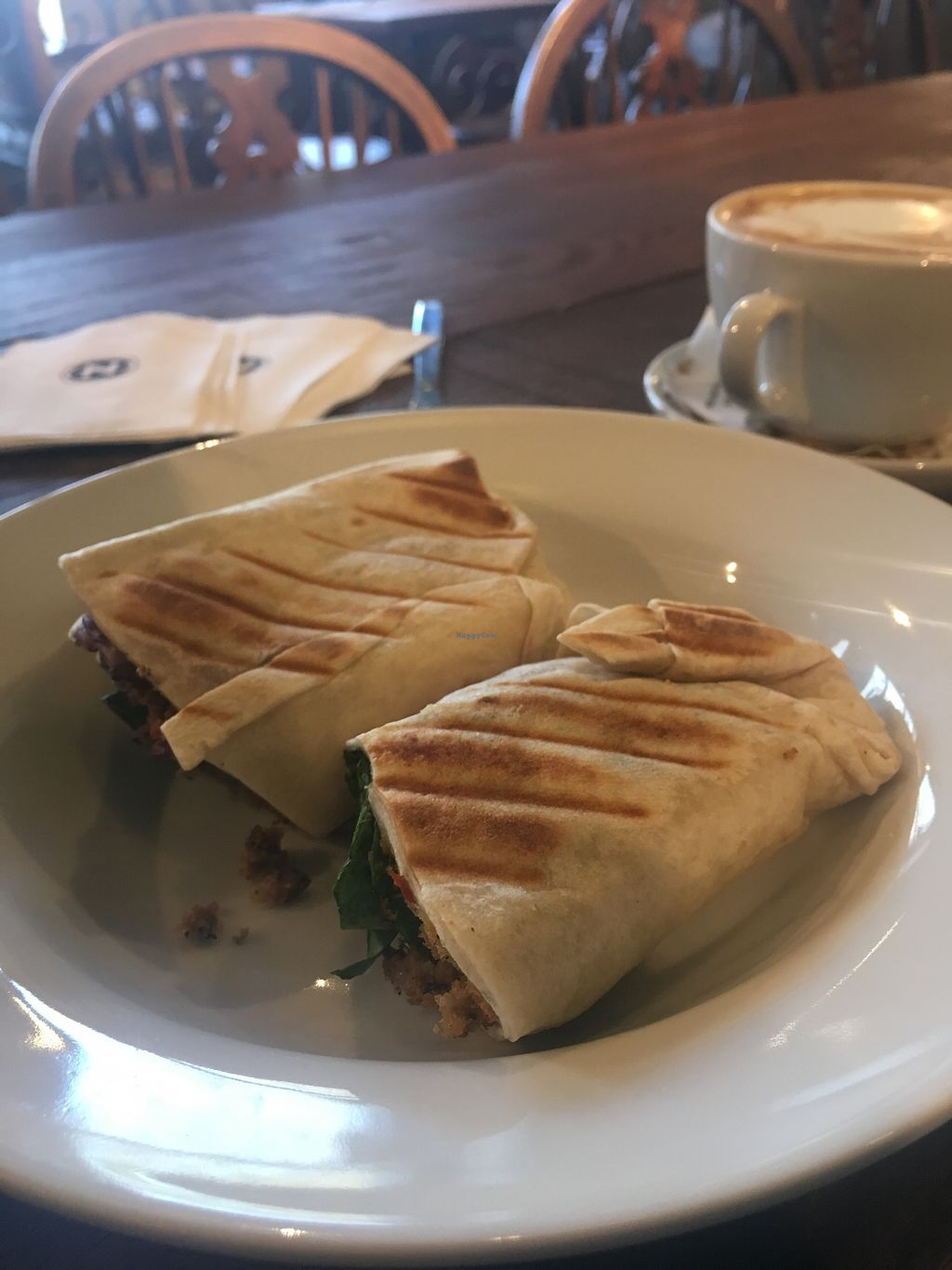 "Photo of Caffe Nero  by <a href=""/members/profile/AvrilTkd"">AvrilTkd</a> <br/>Falafel wrap and vegan soy mocha <br/> November 10, 2017  - <a href='/contact/abuse/image/104775/324039'>Report</a>"