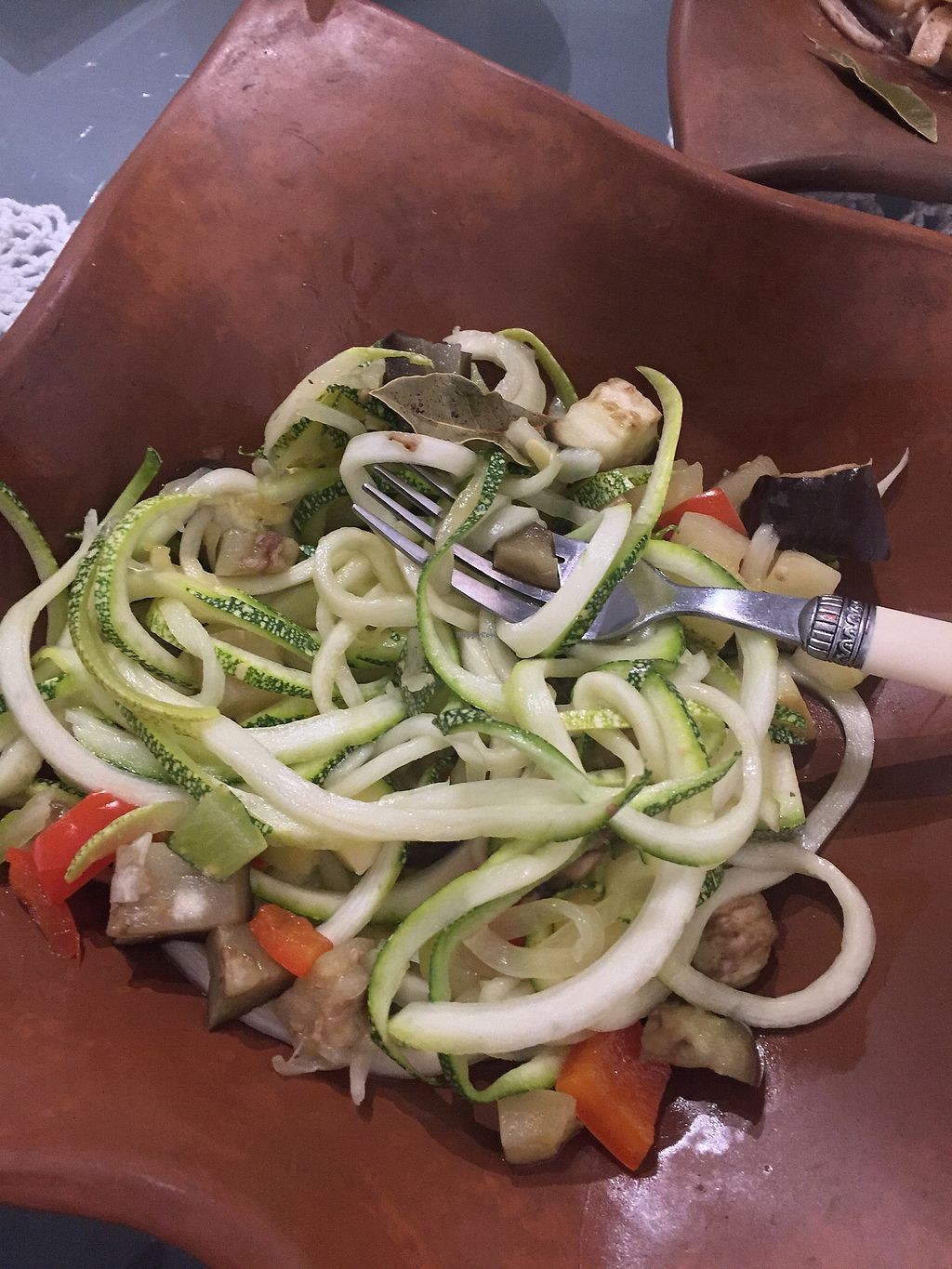 """Photo of El Patio Rojo  by <a href=""""/members/profile/Dianebg"""">Dianebg</a> <br/>Raw spaghetti with sautéed veggies in coconut oil  <br/> November 11, 2017  - <a href='/contact/abuse/image/104849/324434'>Report</a>"""