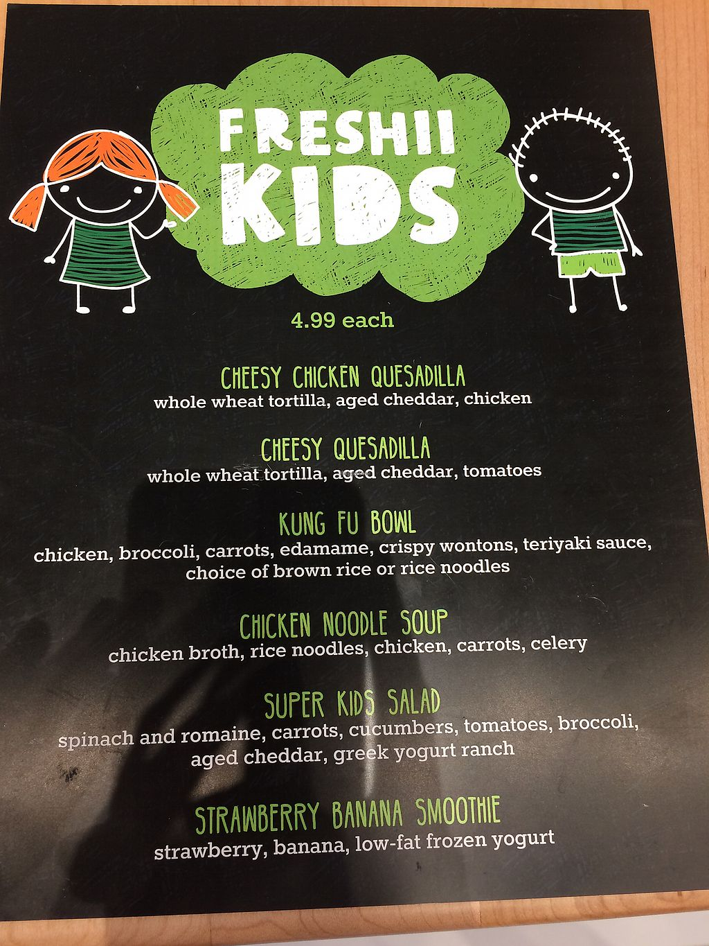 """Photo of freshii  by <a href=""""/members/profile/DeeJames"""">DeeJames</a> <br/>Kids menu ... can substitute tofu or falafel for chicken <br/> November 12, 2017  - <a href='/contact/abuse/image/104852/324477'>Report</a>"""