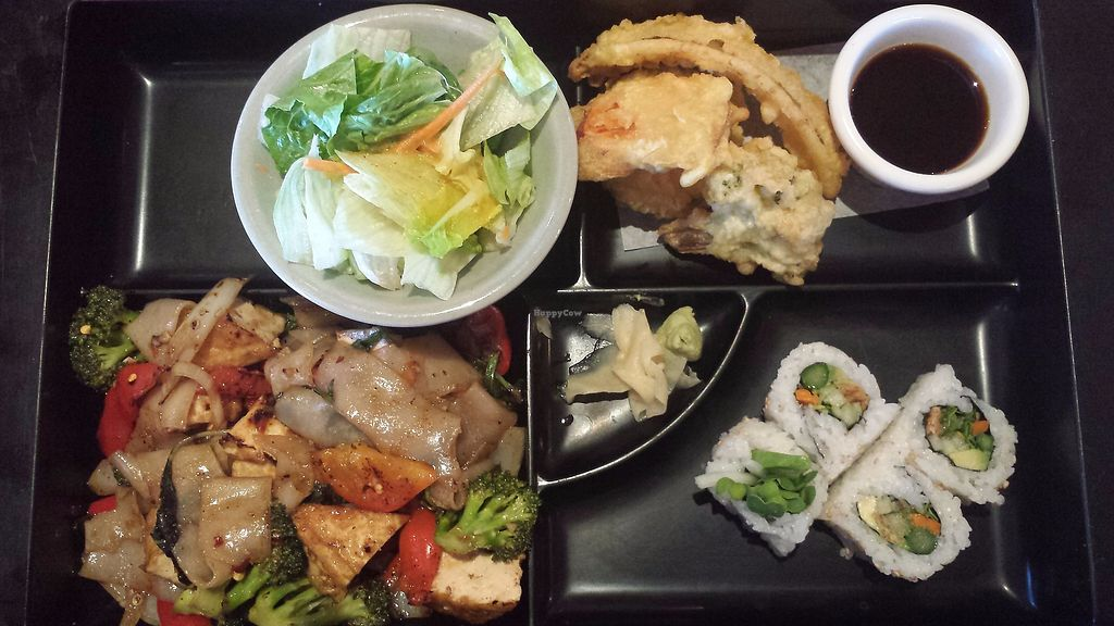 """Photo of Cafe de Thai  by <a href=""""/members/profile/youngfruitbat"""">youngfruitbat</a> <br/>Lunch Bento Box: Salad with ginger dressing, vegetable tempura, Pad See-ew no egg, and a veggie roll. Also includes miso soup <br/> November 12, 2017  - <a href='/contact/abuse/image/104871/324788'>Report</a>"""