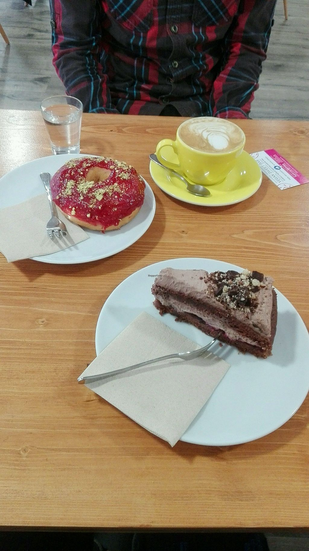 """Photo of Vegan Sweet Bar  by <a href=""""/members/profile/Skvivel"""">Skvivel</a> <br/>raspberry donut, chocolate cake and cappuccino with vanilla soy milk <br/> November 17, 2017  - <a href='/contact/abuse/image/105011/326441'>Report</a>"""