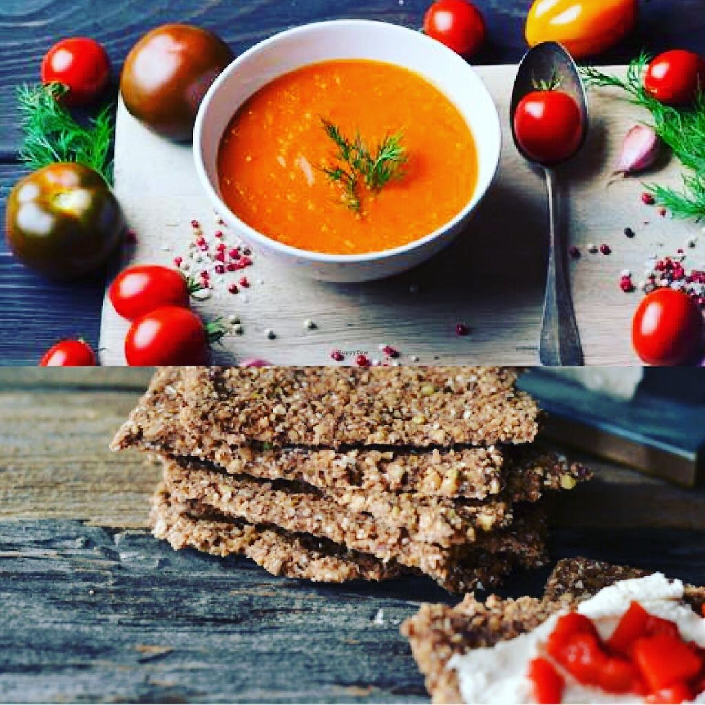 """Photo of Mr Nut Day  by <a href=""""/members/profile/mrnutday"""">mrnutday</a> <br/>Raw Combos with Gaspacho and Raw Bread with Mr Nut Day  <br/> November 14, 2017  - <a href='/contact/abuse/image/105050/325764'>Report</a>"""