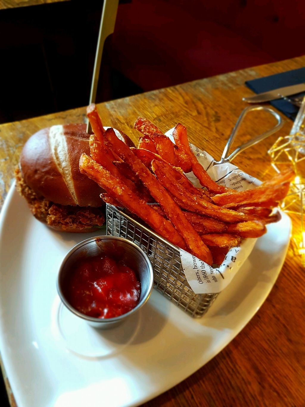 "Photo of The Red Lion  by <a href=""/members/profile/Hoggy"">Hoggy</a> <br/>Vegan Bean burger with sweet potato fries <br/> January 14, 2018  - <a href='/contact/abuse/image/105061/346564'>Report</a>"