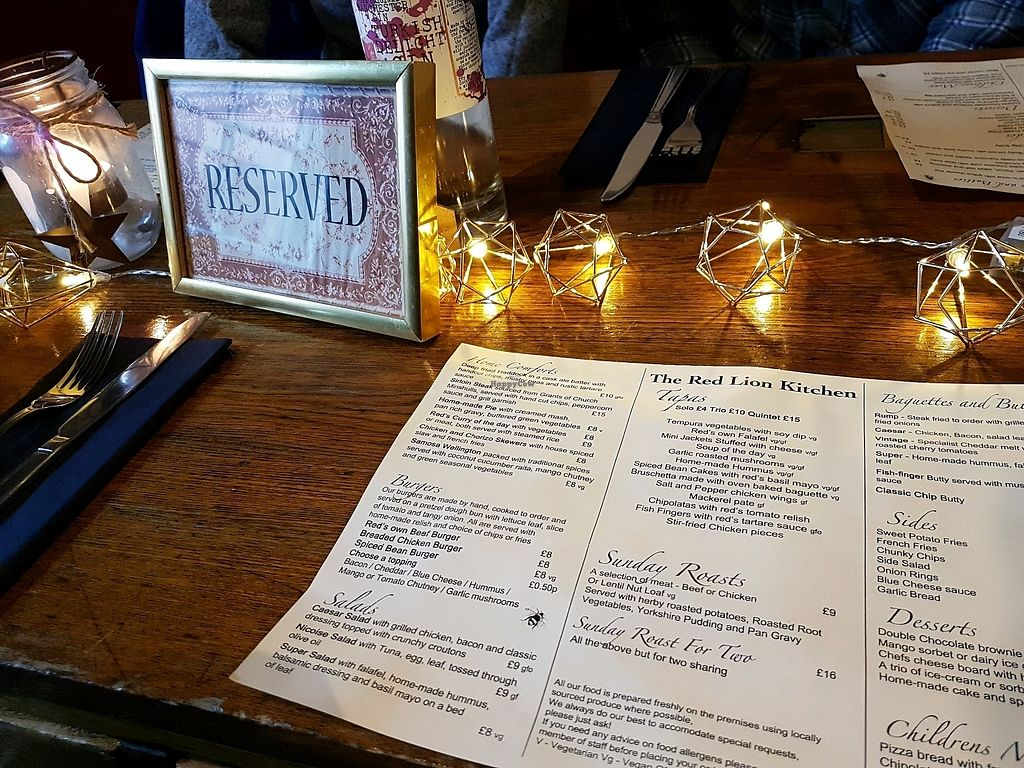 "Photo of The Red Lion  by <a href=""/members/profile/Hoggy"">Hoggy</a> <br/>Inside The Red Lion - Menu (as of Jan 2018)  <br/> January 14, 2018  - <a href='/contact/abuse/image/105061/346568'>Report</a>"