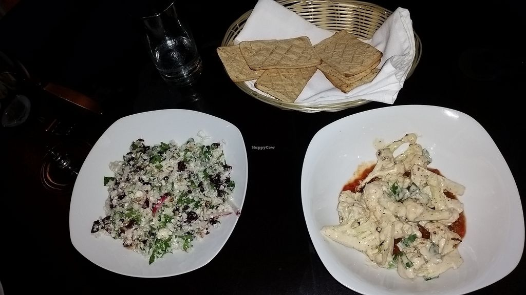 """Photo of Seasons by Shlomy  by <a href=""""/members/profile/vegan247"""">vegan247</a> <br/>Cauliflower, tabule salad, and gluten-free bread <br/> November 27, 2017  - <a href='/contact/abuse/image/105096/329587'>Report</a>"""