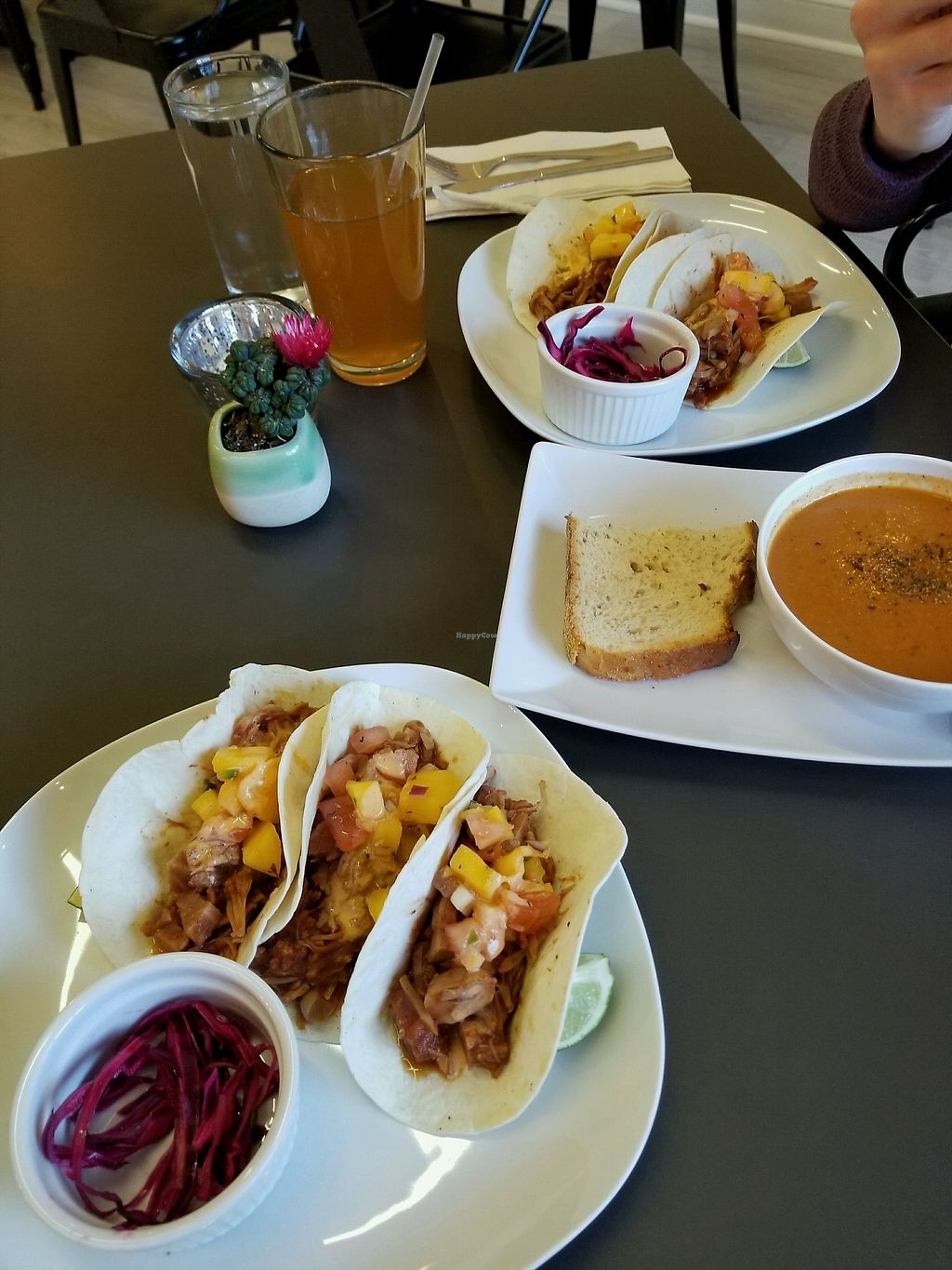 """Photo of Leaf  by <a href=""""/members/profile/Alosea"""">Alosea</a> <br/>Jackfruit tacos and red pepper soup <br/> January 26, 2018  - <a href='/contact/abuse/image/105190/351249'>Report</a>"""