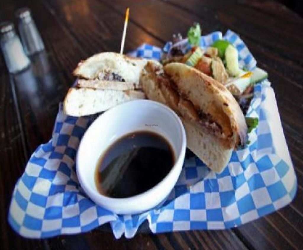 """Photo of Georgetown Liquor Company  by <a href=""""/members/profile/quarrygirl"""">quarrygirl</a> <br/>Picard: Lentil-sage Field Roast, roasted red onions, Tofutti cream cheese and roasted garlic spread, toasted on ciabatta <br/> November 30, 2011  - <a href='/contact/abuse/image/10531/189458'>Report</a>"""