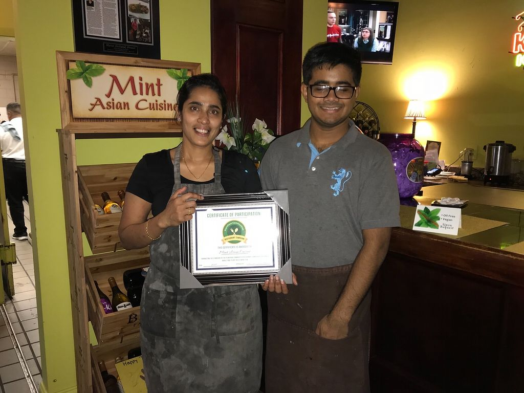 "Photo of Mint Asian Cuisine  by <a href=""/members/profile/BeGreenwithAmy"">BeGreenwithAmy</a> <br/>Mint Restaurant has earned the Plant Pure Nation certificate by offering vegan dishes with no oil upon request! <br/> November 24, 2017  - <a href='/contact/abuse/image/105322/328731'>Report</a>"