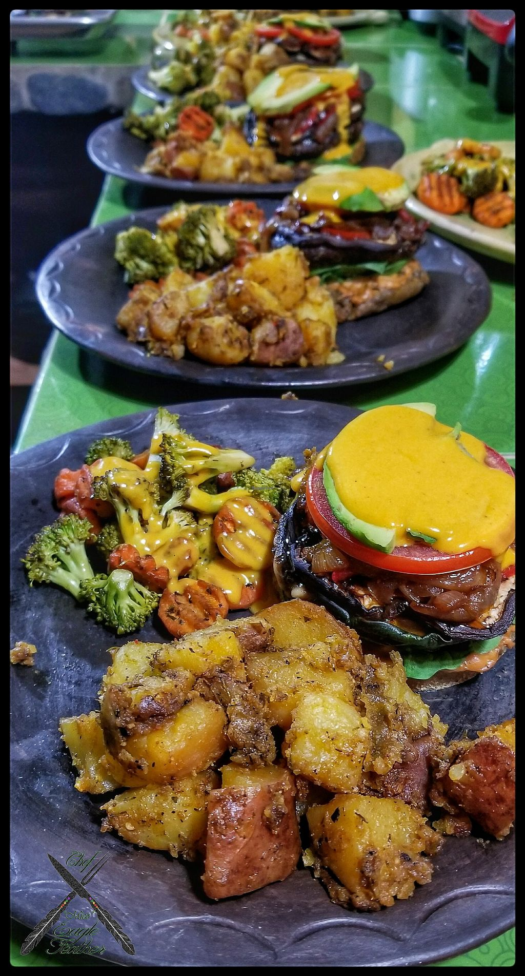 """Photo of Finca Oasis Verde   by <a href=""""/members/profile/EagleFeather"""">EagleFeather</a> <br/>Open-Faced Portobello Burger with Roasted Potatoes and Sautéed Vegetables  <br/> November 19, 2017  - <a href='/contact/abuse/image/105469/327183'>Report</a>"""