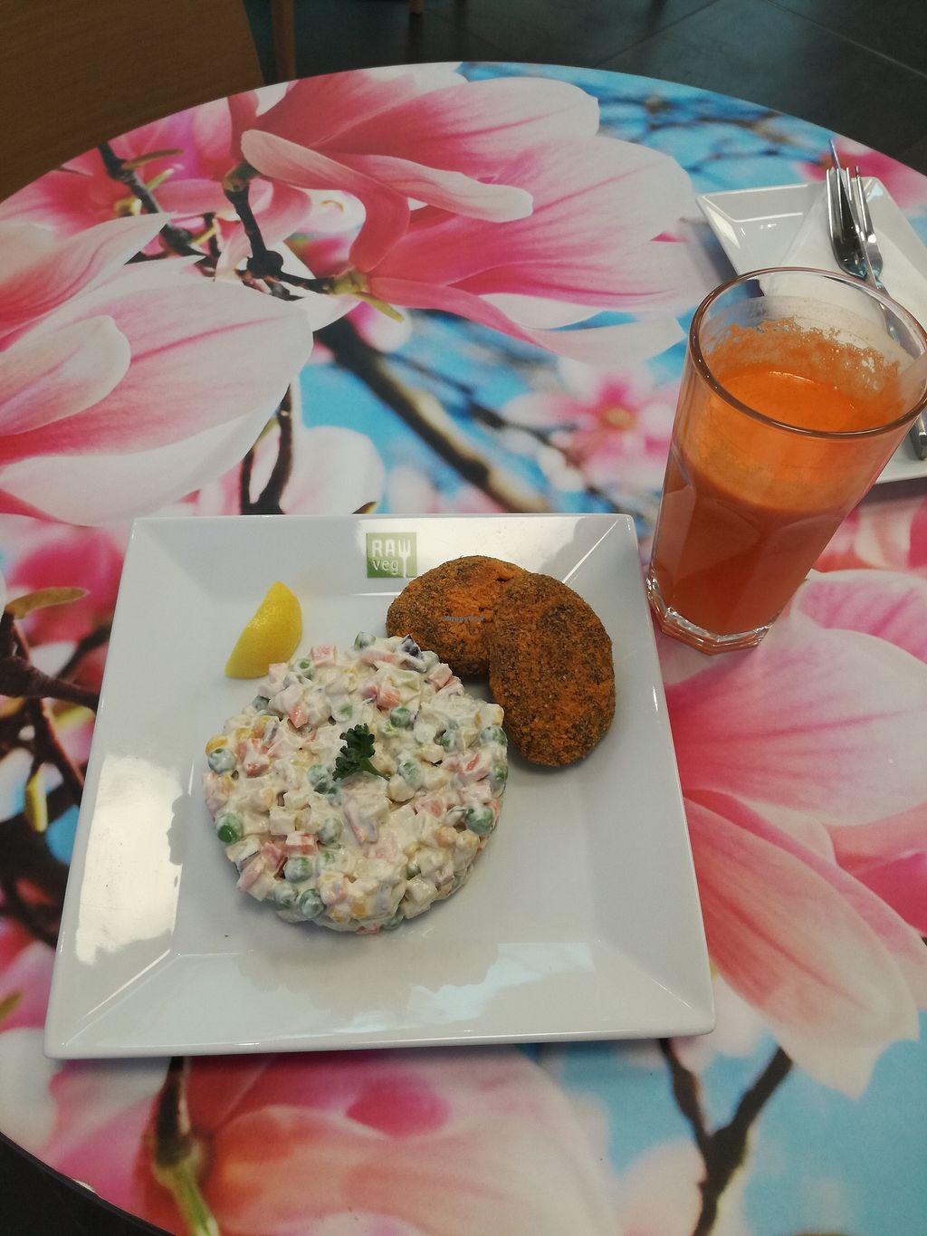 "Photo of bistRAWveg - Cerny Most Shopping Centre  by <a href=""/members/profile/ZdeNka"">ZdeNka</a> <br/>Almond patties with salad and orange carrot juice <br/> January 28, 2018  - <a href='/contact/abuse/image/105480/351827'>Report</a>"