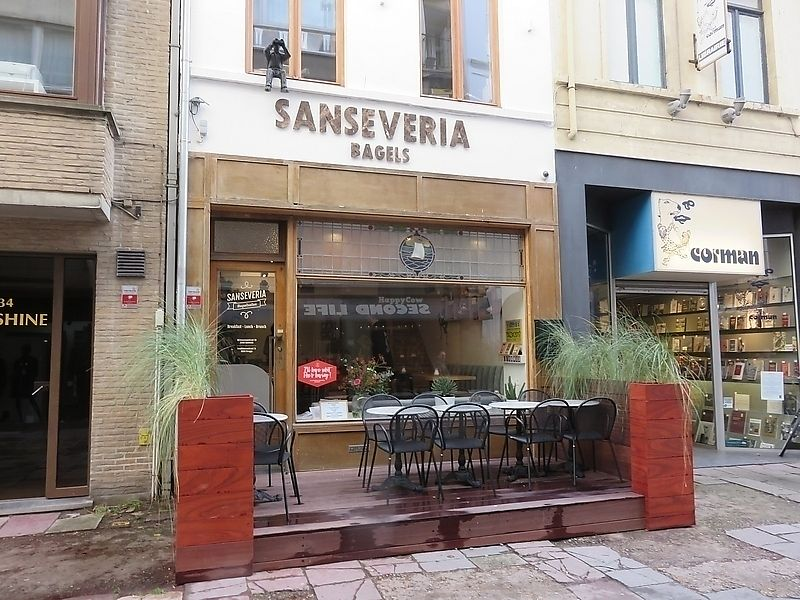 """Photo of Sanseveria Bagelsalon   by <a href=""""/members/profile/TrudiBruges"""">TrudiBruges</a> <br/>front, with terrace <br/> November 29, 2017  - <a href='/contact/abuse/image/105543/330593'>Report</a>"""
